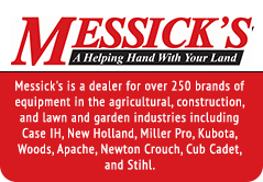 Messick's is a dealer for over 250 brands of equipment in the agricultural, construction, and lawn and garden industries including Case IH, New Holland, Miller Pro, Kubota, Woods, Apache, Newton Crouch, Cub Cadet, and Stihl.